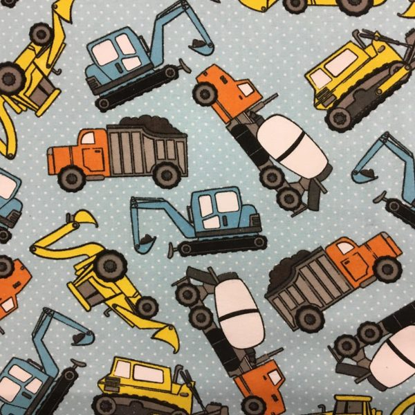 Construction Vehicles Flannel - Blue