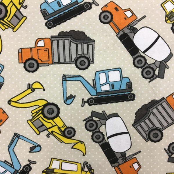 Construction Vehicles Flannel - Cream