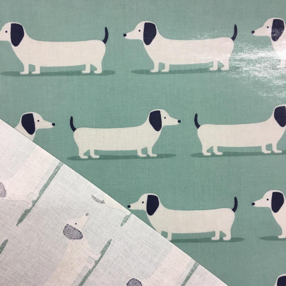Fryetts Hound Dogs Duckegg printed cotton fabric