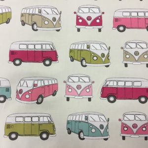 Official Volkswagen Campervan 100% Cotton Canvas - Pink