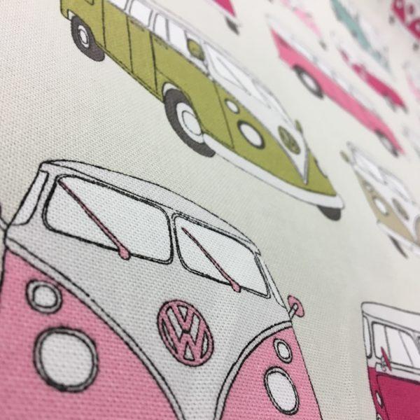 Official Volkswagen Campervan 100% Cotton Canvas - Pink