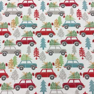 Studio G 100% Cotton Canvas - Scandi Christmas Trees & Cars