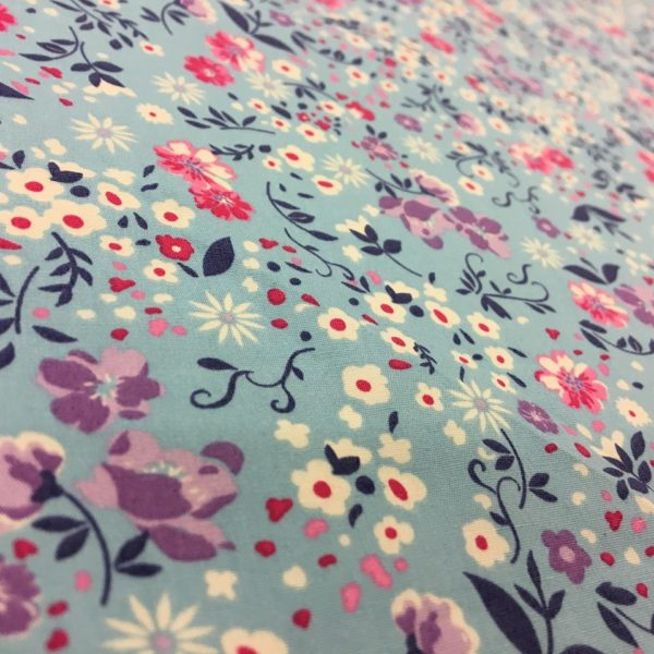 Rose & Hubble 100% Cotton Floral Print - Blue