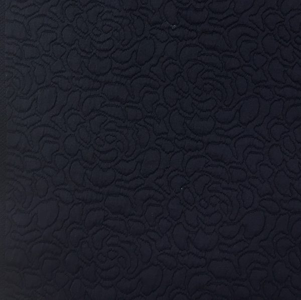 Floral Quilted Cloqué  Jersey - Navy