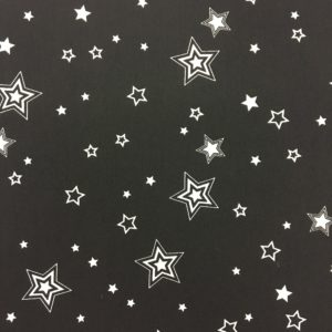 Lightweight Polyester Dressmaking Fabric - Black with White Stars