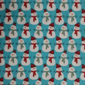 100% Cotton Christmas Prints - Snowmen on Blue