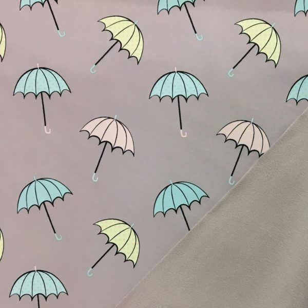 Fleece Backed Soft Shell Fabric - Umbrellas on Lilac