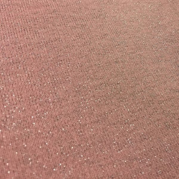 Fleece Backed Sweatshirting Lurex Jersey - Pale Pink