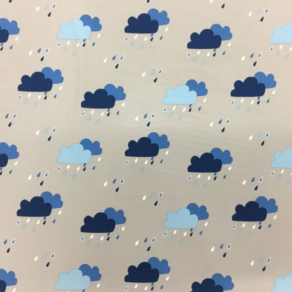 Fleece Backed Soft Shell Fabric - Rainclouds - Blue