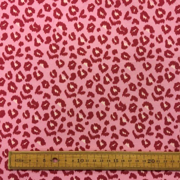 French Terry Sweatshirting - Leopard Print - Raspberry Pink