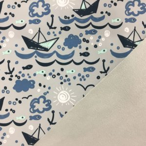 Fleece Backed Soft Shell Fabric - Boats on the Sea