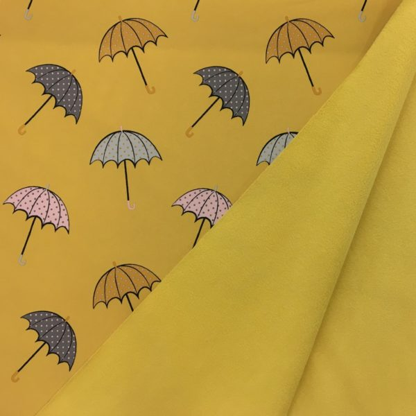 Fleece Backed Soft Shell Fabric - Umbrellas on Yellow
