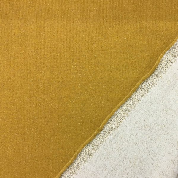 Fleece Backed Sweatshirting Lurex Jersey - Ochre