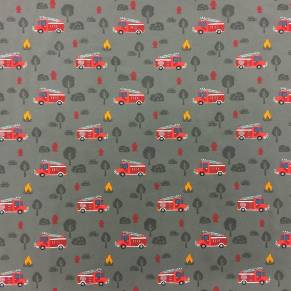 Cotton Spandex Jersey – Fire Engines on Grey