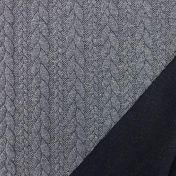 Cable Knit Cloque Jersey - Denim Blue