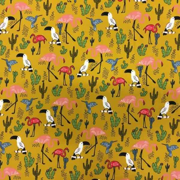 Organic French Terry Sweatshirting - Tropical Paradise - Ochre