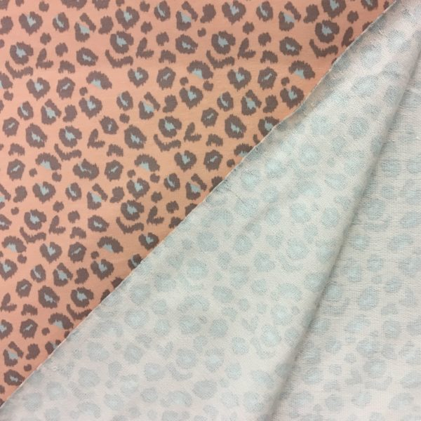 French Terry Sweatshirting - Leopard Print - Soft Peach