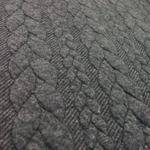 Cable Knit Cloque Jersey - Denim Blue