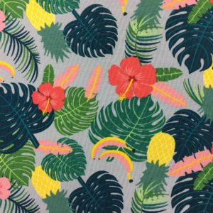 Cotton Spandex Jersey – Aloha Tropical Leaves - Blue