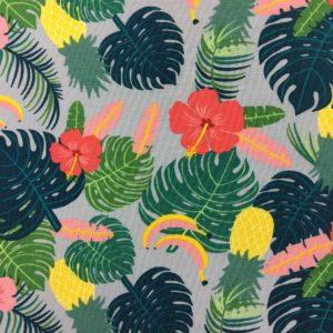 Cotton Spandex Jersey – Aloha Tropical Leaves - Blue