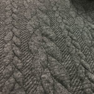 Cable Knit Cloque Jersey - Dark Grey