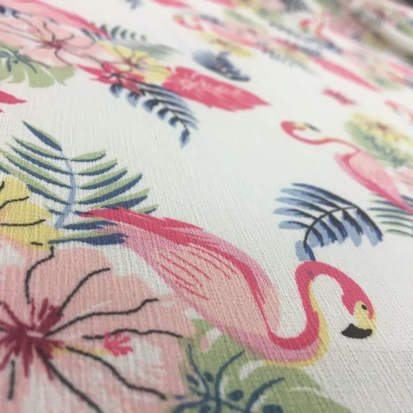 Lightweight Textured Ripple Crepe - White with Pink Flamingos