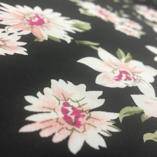 Lightweight Rayon Challis - Flowers on Black