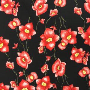 Lightweight Poly/Spandex - Sketched Flower - Black/Red