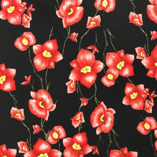 Lightweight Poly/Spandex - Sketched Flower - Black/Red
