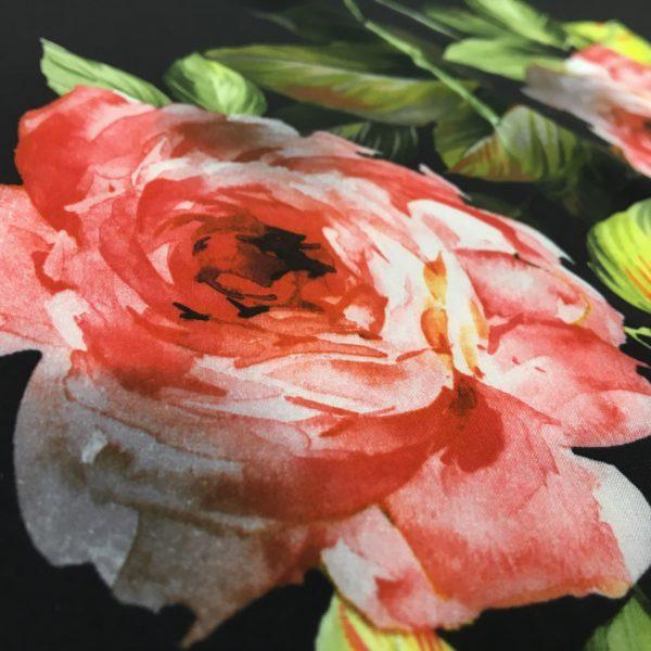 Lightweight Poly/Spandex - Bold Roses on Black