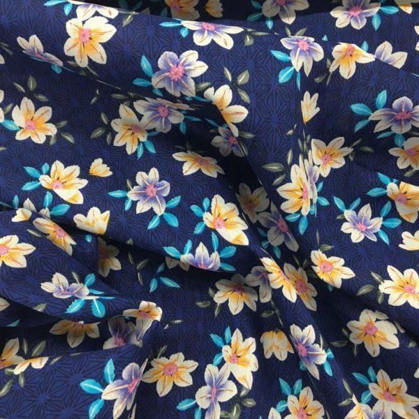 Lightweight 100% Cotton - Bright Flowers on Blue