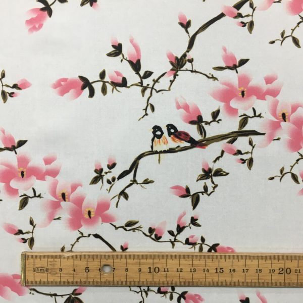 Lady McElroy 100% Cotton 'Marlie' Lawn - Flora Songbird - Carnation Pink