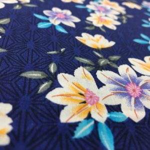 Lightweight 100% Cotton - Bright Flowers on Blue