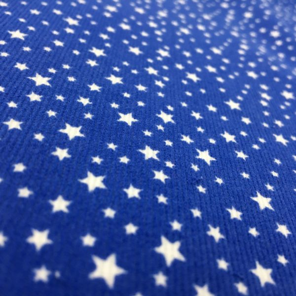 Printed 100% Cotton Babycord - Mini Starts - Royal Blue