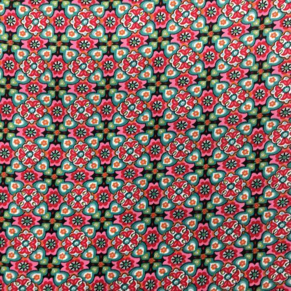 Printed 100% Cotton Babycord - Kaleidoscope - Cerise/Green