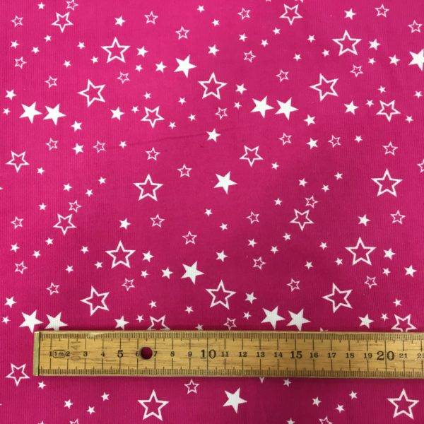 Printed 100% Cotton Babycord - Scattered Starts - Pink