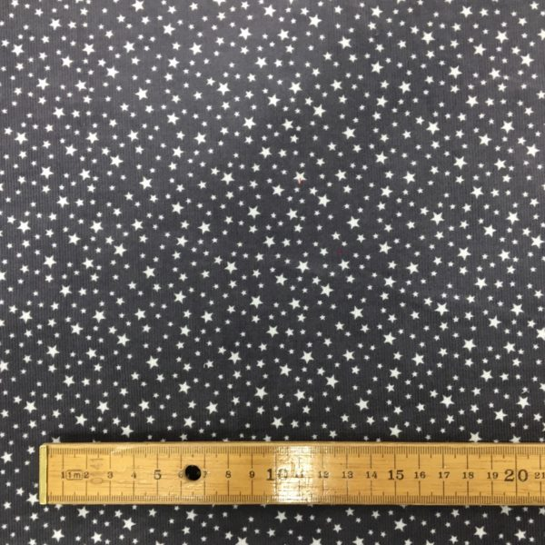 Printed 100% Cotton Babycord - Mini Starts - Grey