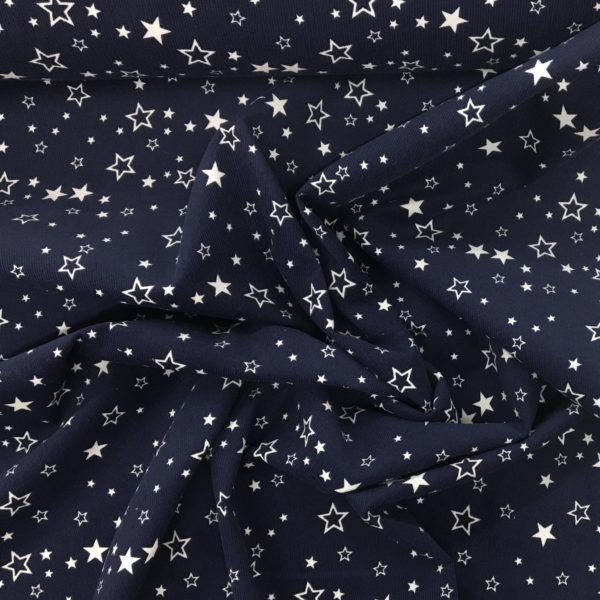 Printed 100% Cotton Babycord - Scattered Starts - Navy