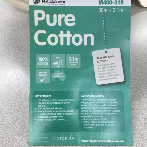 Matilda's Own 100% Pure Cotton Batting - 310cm Wide