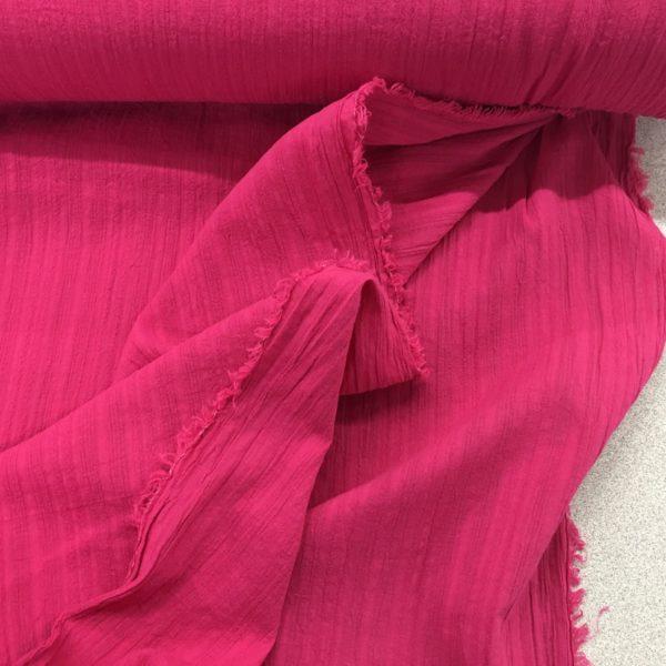 Lightweight 100% Cotton Gauze - Textured Stripe - Cerise