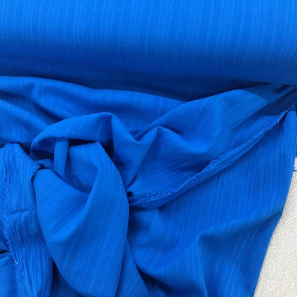 Lightweight 100% Cotton Gauze - Textured Stripe - Royal Blue