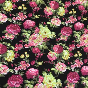Comfort Stretch Heavy Cotton - Midnight Carnations