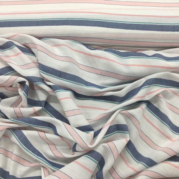 Lightweight Textured 100% Cotton - White/Denim/Pink Stripes