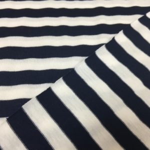 Viscose Spandex Jersey - Navy/White Stripes
