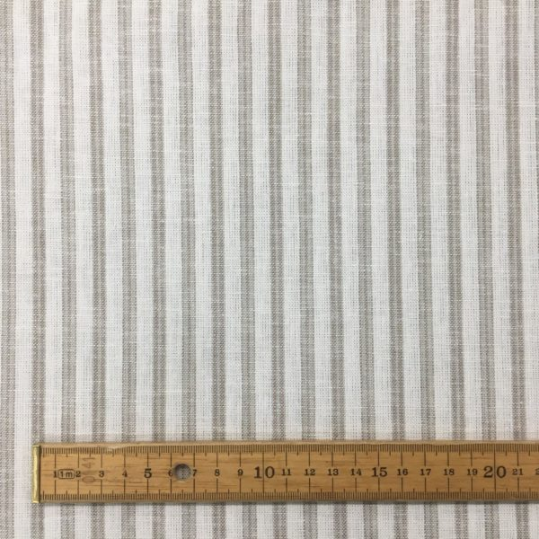 Striped Linen Viscose - Putty/White