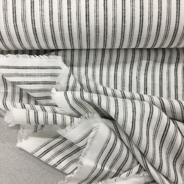 Striped Linen Viscose - Ebony/White