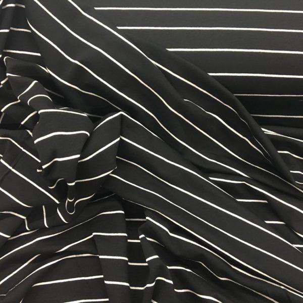 Lady McElroy Viscose/Spandex - Black Magic - Black/White Stripe