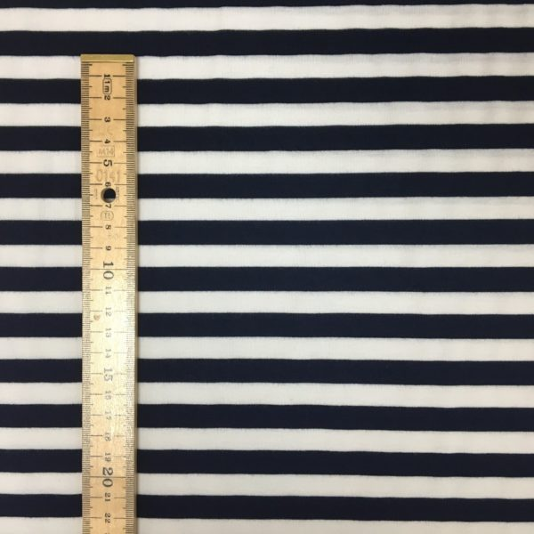 Viscose Spandex Jersey - Navy/White Stripes