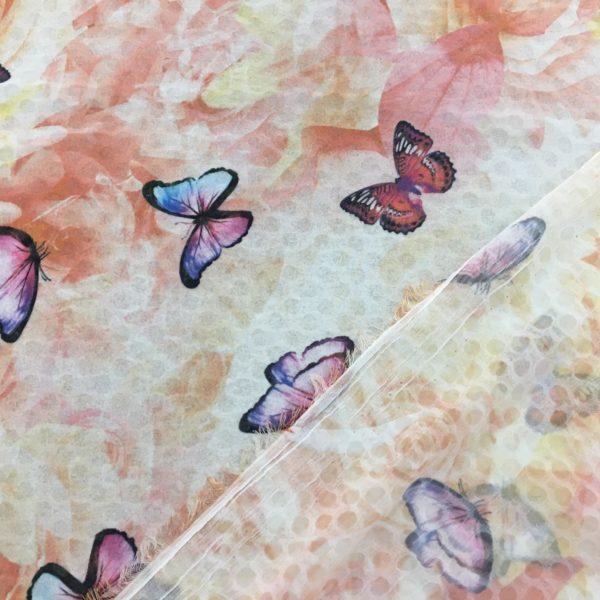Lightweight Sheer Woven Polyester - Roses & Butterflies - Amber