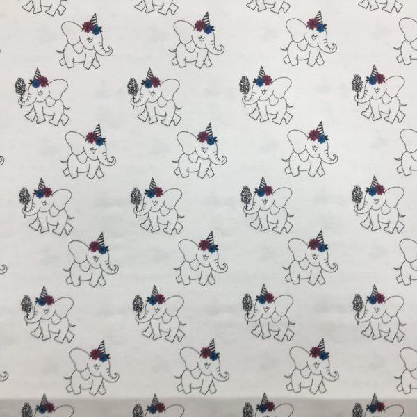 Light Reactive Jersey Fabric - Elephant Party